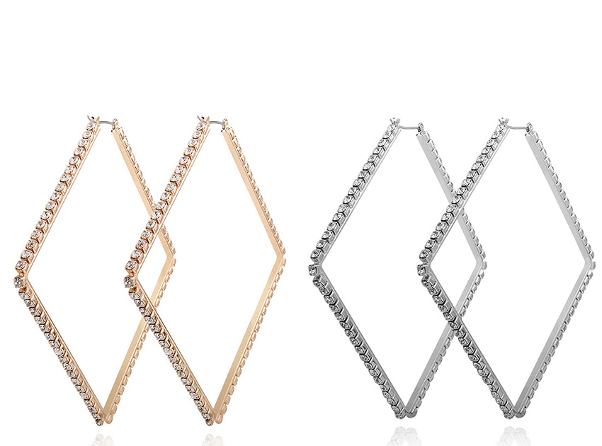 블랙피치,Rhinestone Diamond Hoop Earring (당일발송가능)