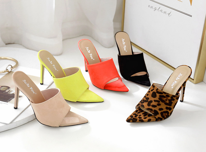 블랙피치,5 Color Sued Peep Toe Mule
