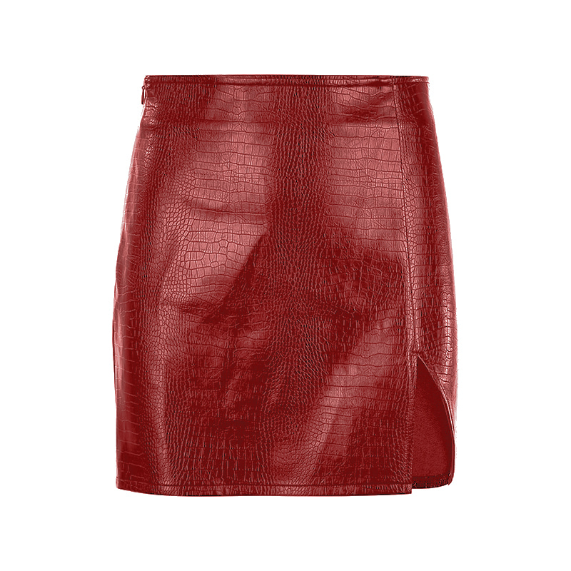 블랙피치,(SALE) Matilda Faux Leather Slit Mini Skirt (당일발송가능)