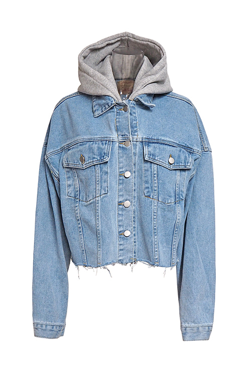 블랙피치,Hooded Crop Denim Jacket